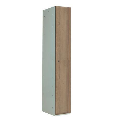 Timber Door Locker Plain Medium Oak 1800x300x450 1 Compartment