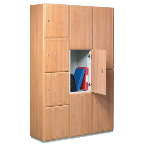 Timber Door Locker Plain Medium Oak 1800x380x380 1 Compartment