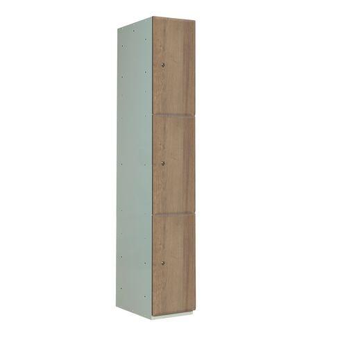 Timber Door Locker Plain Medium Oak 1800x380x380 3 Compartments