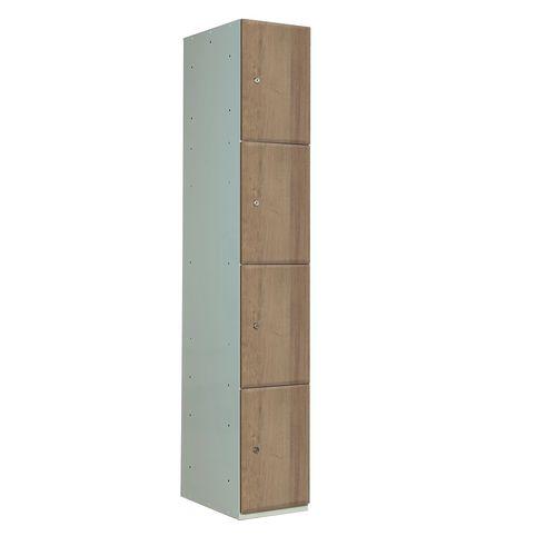 Timber Door Locker Plain Medium Oak 1800x300x450 4 Compartments