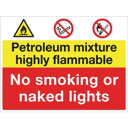 Sign Petroleum Mixture Highly Flammable 600x450 Vinyl