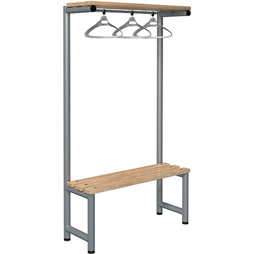 1000mm Single Sided Hanging Cloak Unit With Silver Frame And Ash Slats