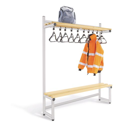1500mm Single Sided Hanging Cloak Unit With Silver Frame And Ash Slats
