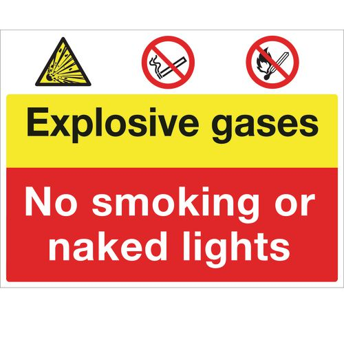 Sign Exposive Gases No Smoking 600x450 Vinyl