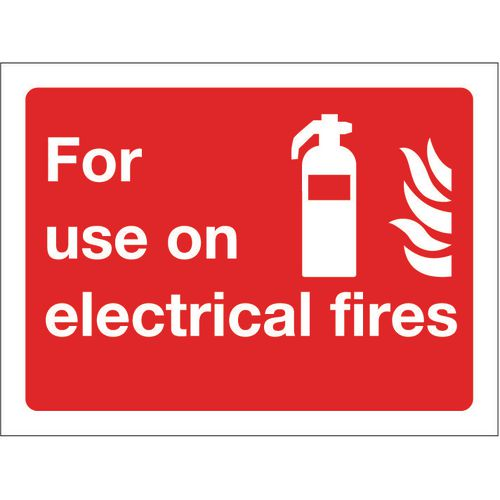 Sign For Use On Electrical Fires 100x75 Vinyl