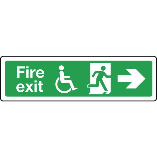Sign Disabled Fire Exit Right 350x100 Vinyl