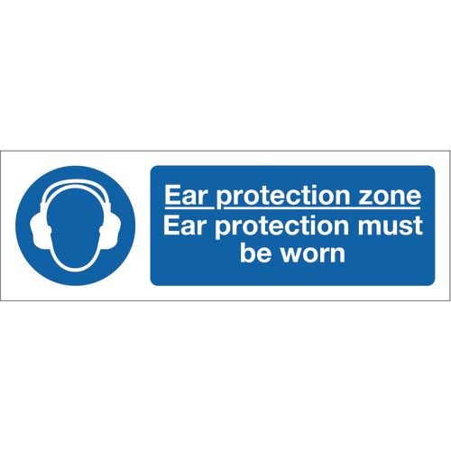 Sign Ear Protection Zone 300x100 Vinyl