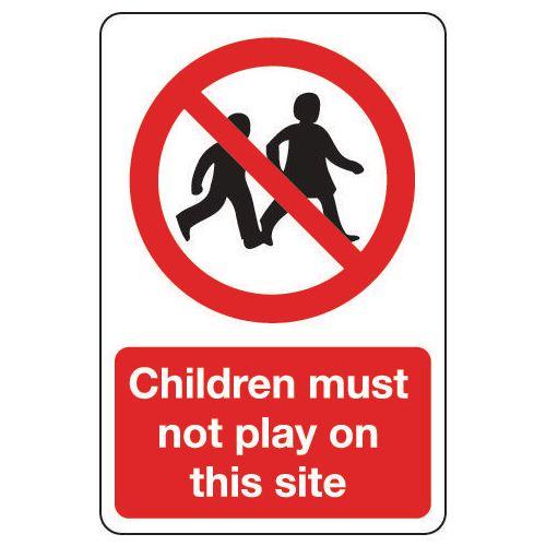 Sign Children Must Not Play 600x200 Vinyl