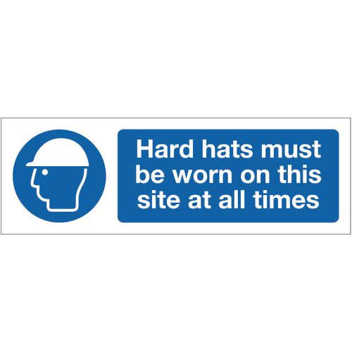Sign Hard Hats Must Be Worn 600x200 Vinyl