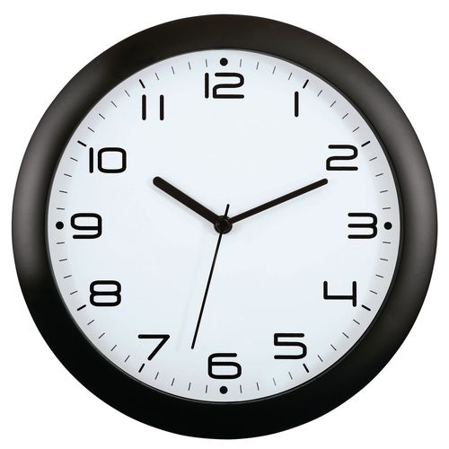 Wall Clock  30Cm Face Face Black Bezel
