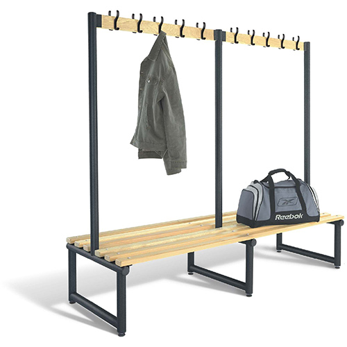 2000mm Double Sided Cloakroom Unit Black Frame With Ash Slats