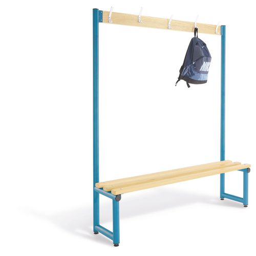 2000mm Single Sided Cloakroom Unit Blue Frame With Ash Slats