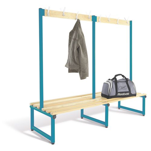 2000mm Double Sided Cloakroom Unit Blue Frame With Ash Slats