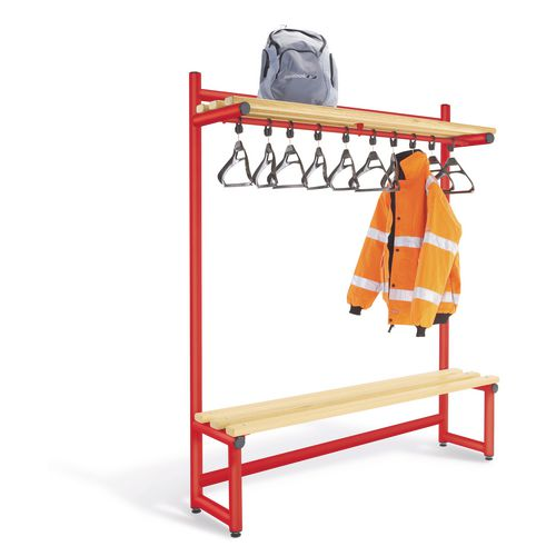 1500mm Single Sided Hanging Cloak Unit Red Frame With Ash Slats