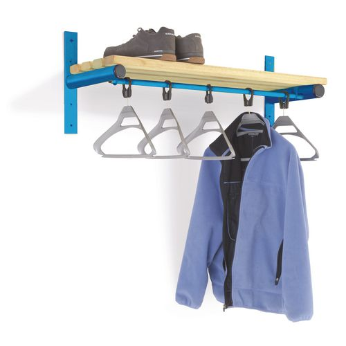 1500mm Wall Mounted Shelf And Rail With Blue Frame And Ash Slats