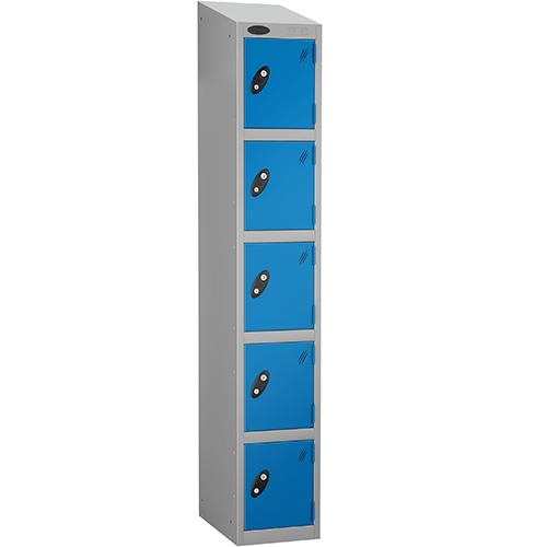 Locker Economy Range With Sloping Top 5 Door Depth:305mm Silver &Blue