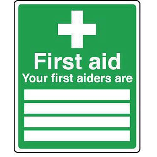 Sign Your First Aiders Are 250 X 300 Vinyl