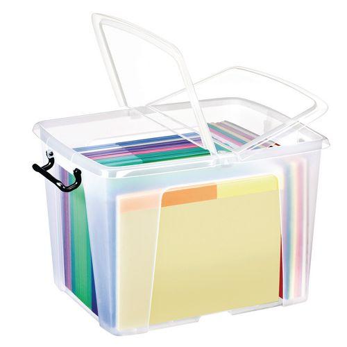 Strata Smart Box 40L - Transparent Boxes with Secure Folding Lids