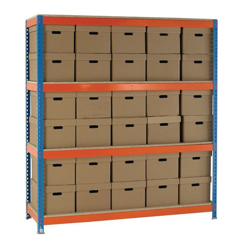 Heavy Duty Painted Archive Unit Plain Box Height 2100mm Shelf Size D900mm With 60 Archive Boxes