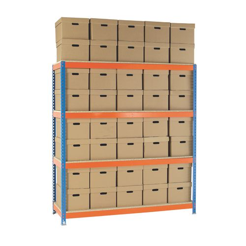 Heavy Duty Painted Archive Unit Plain Box Height 2100mm Shelf Size D900mm With 80 Archive Boxes