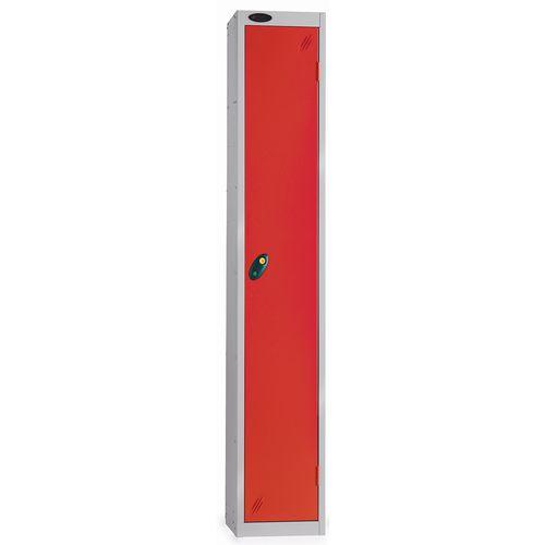 1 Door Locker With Coin Return Lock Silver Body Red Door Hxwxd: 1778x305x380mm
