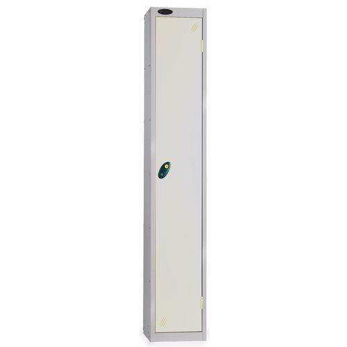 1 Door Locker With Coin Return Lock Silver Body Smoke White Door Hxwxd: 1778x305x380mm