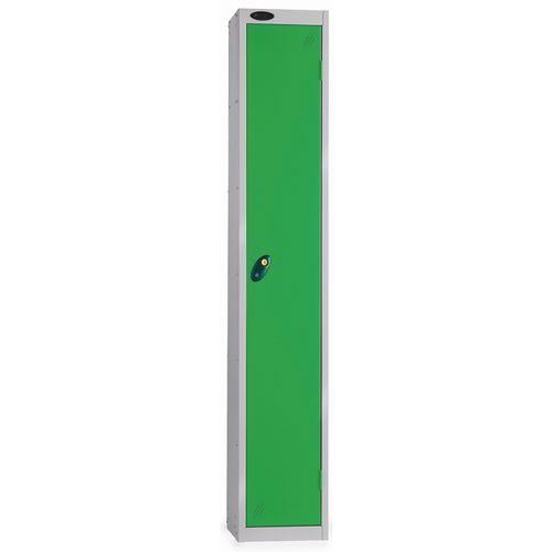 1 Door Locker With Coin Retain Lock Silver Body Green Hxwxd: 1778x305x380mm