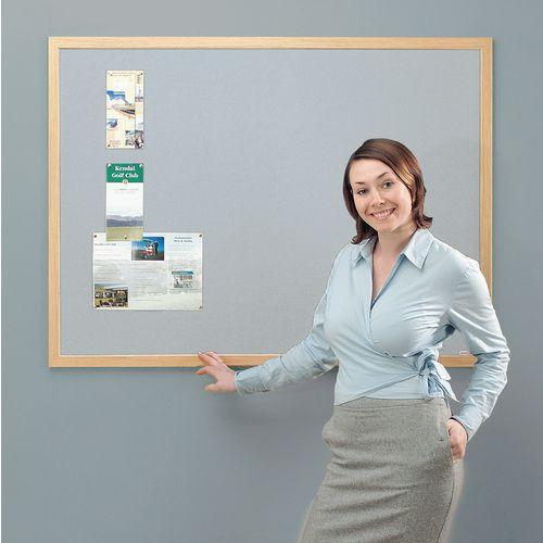 Eco-Friendly Noticeboard 900x600mm Light Oak Frame Grey Board