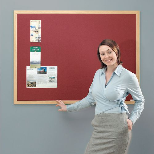 Eco-Friendly Noticeboard 900x600mm Light Oak Frame Burgundy Board