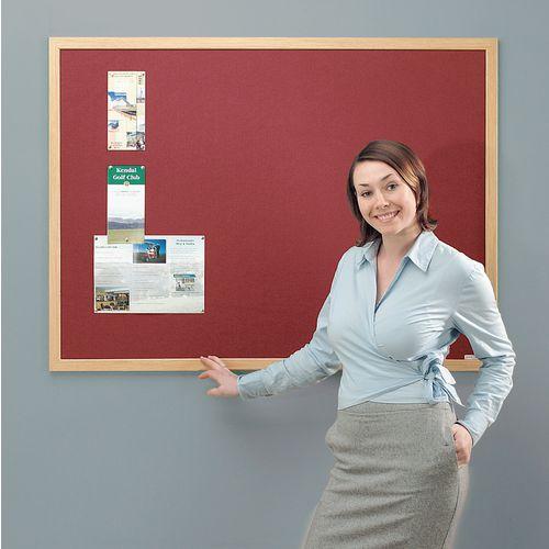 Eco-Friendly Noticeboard 1200x900mm Light Oak Frame Burgundy Board