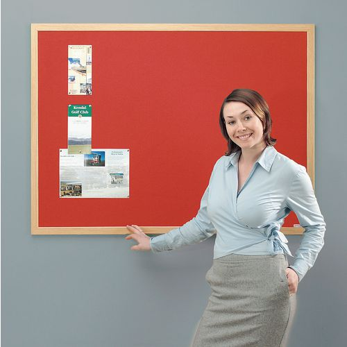 Eco-Friendly Noticeboard 1800x1200mm Light Oak Frame Red Board