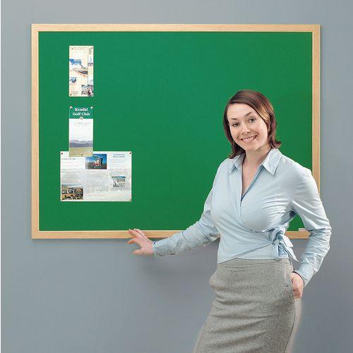 Eco-Friendly Noticeboard 1800x1200mm Light Oak Frame Green Board