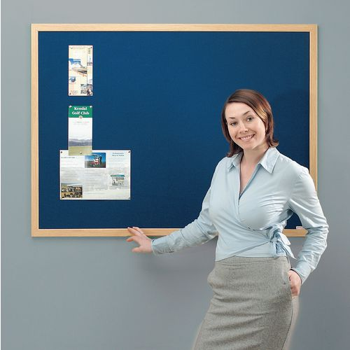 Eco-Friendly Noticeboard 2400x1200mm Light Oak Frame Blue Board