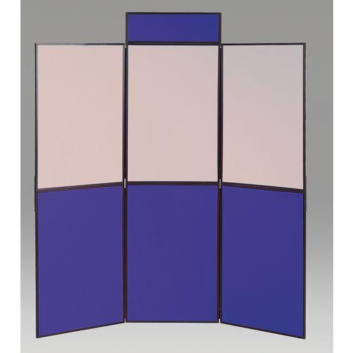 Aluminium Frame Folding Display Including Carrier Bag Black &Blue and Grey Plastic &Aluminium 6 Panel