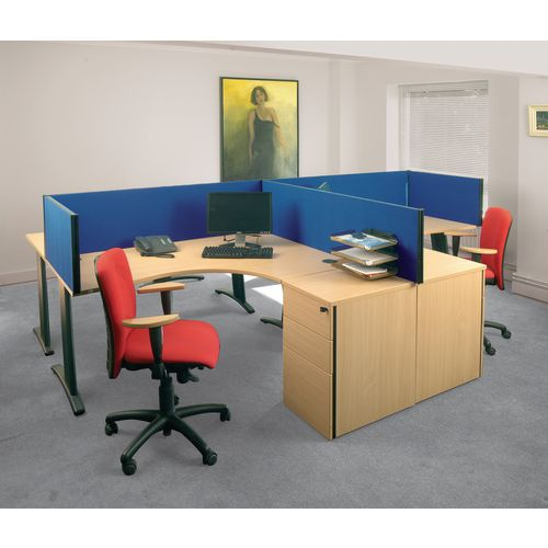 Busyscreen Desk Top Rectangular Screen Blue Wxdxh: 32x1400x400