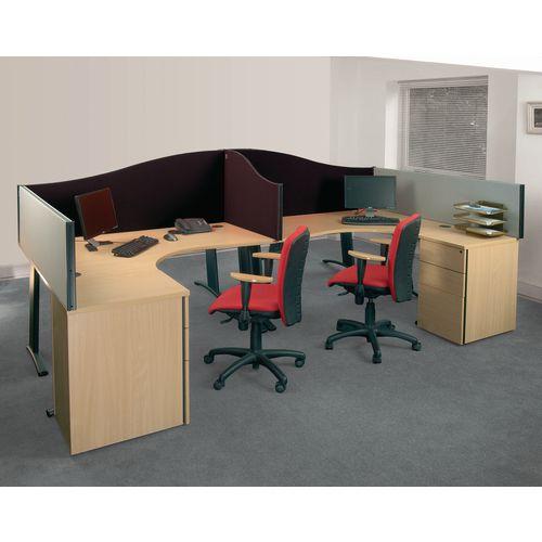 Busyscreen Desk Top Wave Screen Black Wxdxh: 32x1600x600