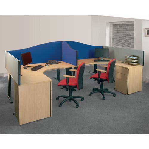 Busyscreen Desk Top Wave Screen Blue Wxdxh: 32x1400x600