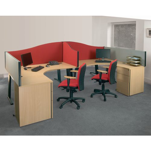 Busyscreen Desk Top Wave Screen Red Wxdxh: 32x1400x600