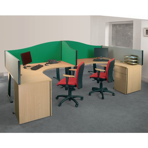 Busyscreen Desk Top Wave Screen Green Wxdxh: 32x1400x600