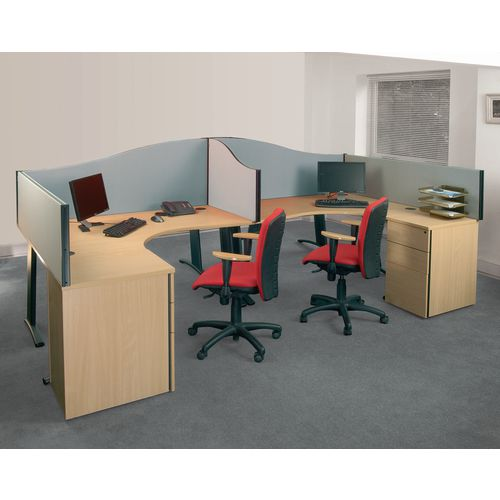 Busyscreen Desk Top Wave Screen Light Grey Wxdxh: 32x1400x600