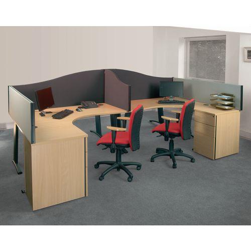Busyscreen Desk Top Wave Screen Dark Grey Wxdxh: 32x1200x600