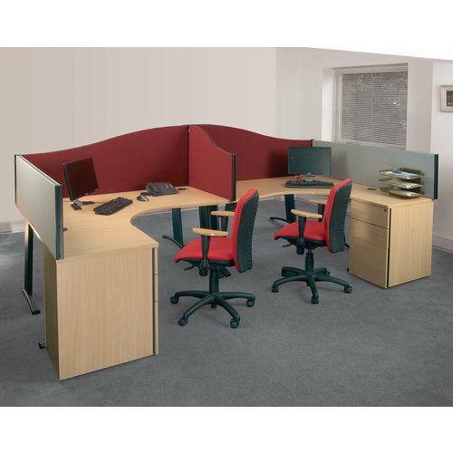 Busyscreen Desk Top Wave Screen Burgundy Wxdxh: 32x1200x600