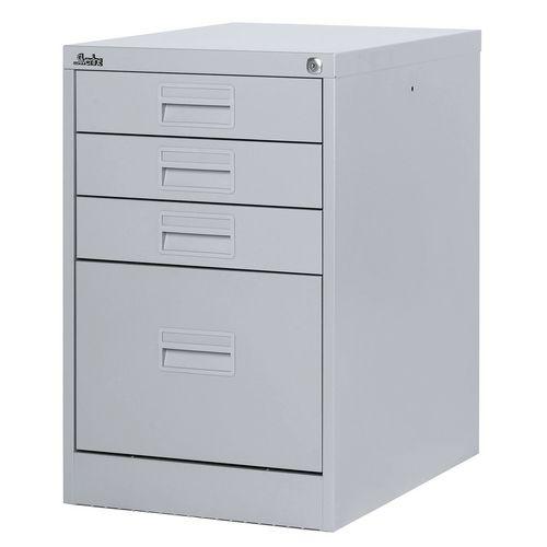 Filing Cabinet Midi Light Grey Steel HxWxD: 711x458x622mm 1 Filing Drawer &3 Shallow Stationery Drawers