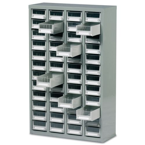 Steel Drawer Cabinet W/O Doors 937X586X222mm C/W 48 Bin Trays