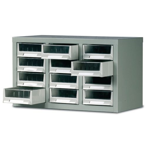 Steel Drawer Cabinet 350X586X290mm C/W 12 Bin Trays