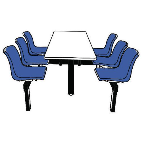 Floor Mountable Canteen Bench 6 Seater Single Entry White Table Top Blue Seats - Ideal for use in hospitals, schools colleges and staff canteens.