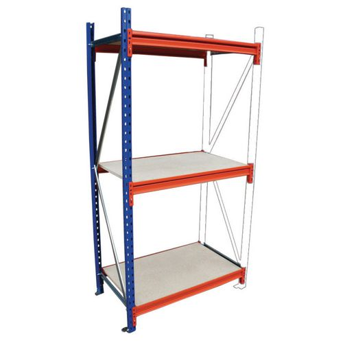Heavy Duty Wide Span Shelving Add On Bay HxWxD 2500x1850x900mm - Boltless Design, 500kg Shelf Capacity, 3 Chipboard Decks, 6 Beams, 1 Supporting Frame, Safety Clips &Footplates Included