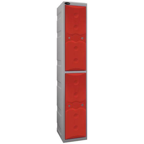 Ultrabox Plastic Locker 2 Door With Water Proof Cam Lock And 2 Keys Standard Duty Light Grey Body &Red Doors