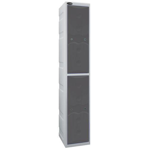 Ultrabox Plastic Locker 2 Door With Water Proof Cam Lock And 2 Keys Standard Duty Light Grey Body &Grey Doors