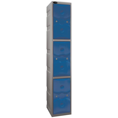 Ultrabox Plastic Locker 3 Door With Water Proof Cam Lock And 2 Keys Standard Duty Light Grey Body &Blue Doors